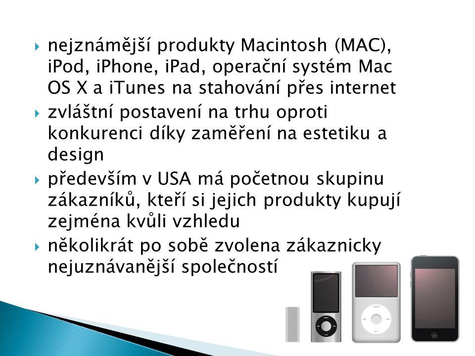 nejznámější produkty Macintosh (MAC), iPod, iPhone, iPad, operační systém Mac OS X a iTunes na stahování přes internet