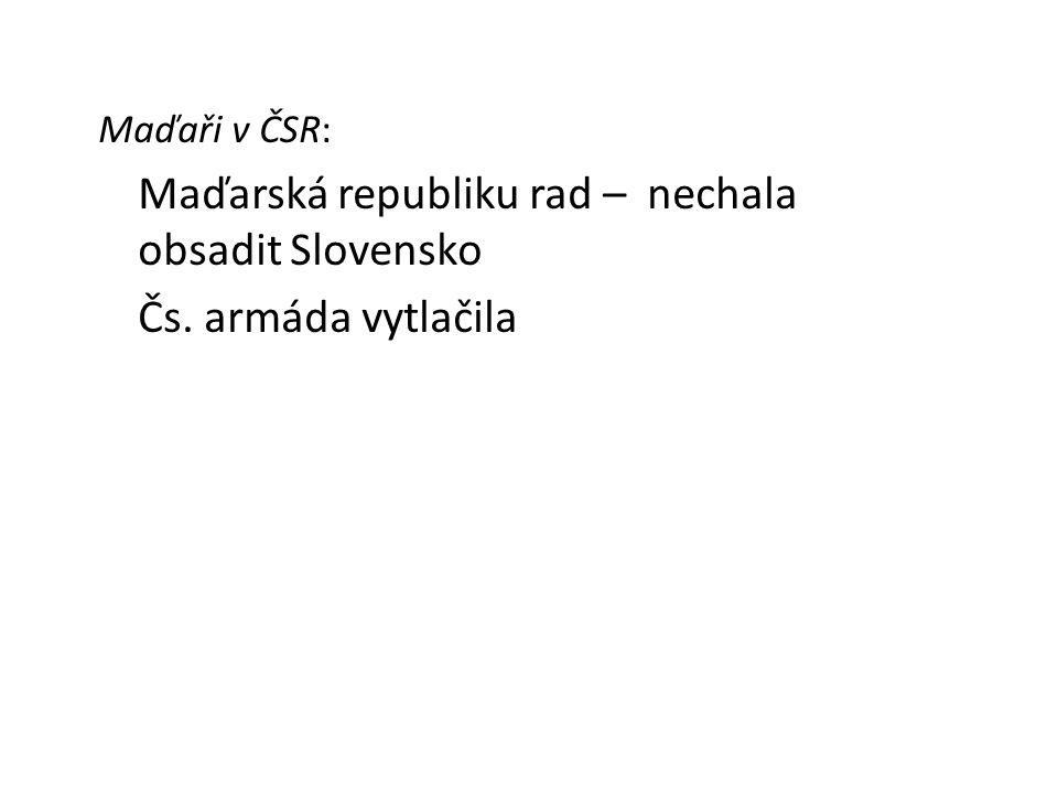 Maďarská republiku rad – nechala obsadit Slovensko