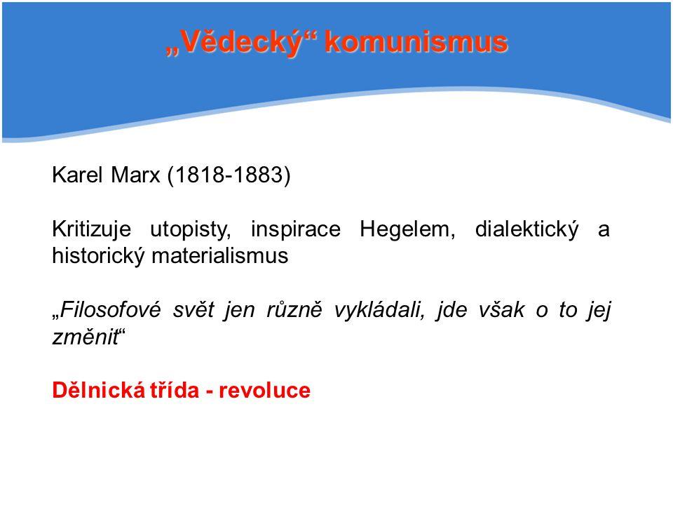 """Vědecký komunismus Karel Marx (1818-1883)"