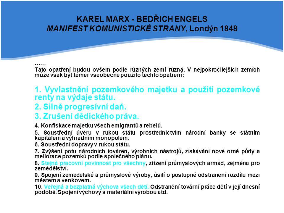 KAREL MARX - BEDŘICH ENGELS MANIFEST KOMUNISTICKÉ STRANY, Londýn 1848