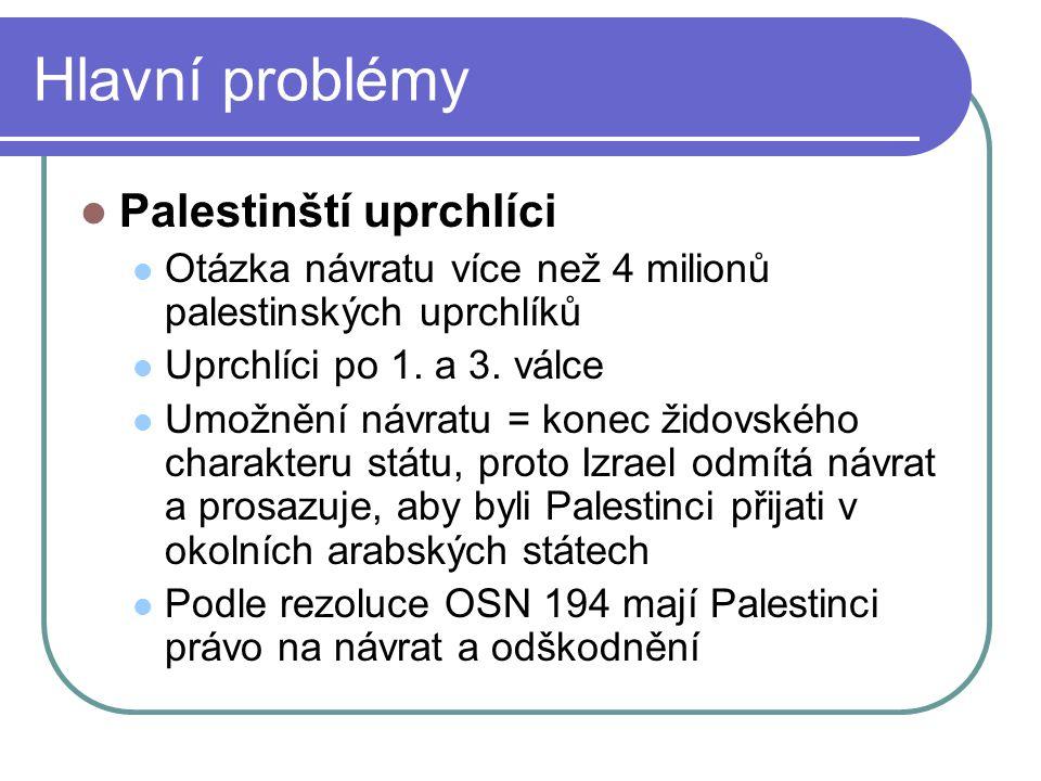 Hlavní problémy Palestinští uprchlíci