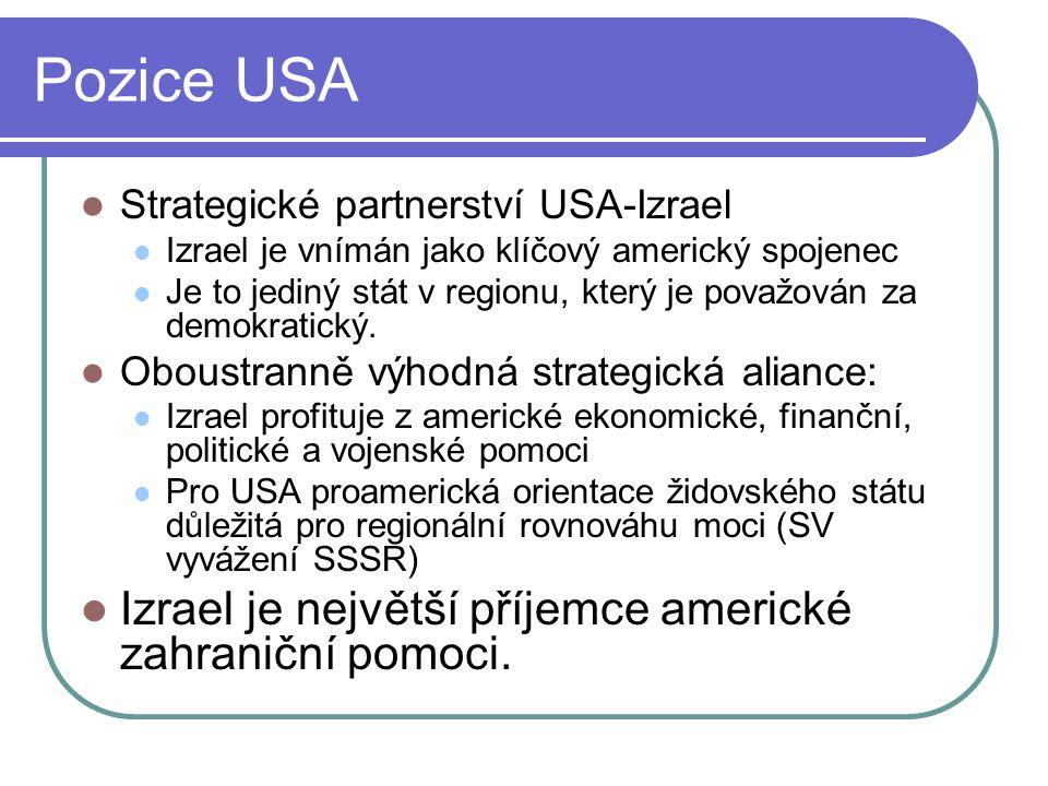 Pozice USA Izrael je největší příjemce americké zahraniční pomoci.