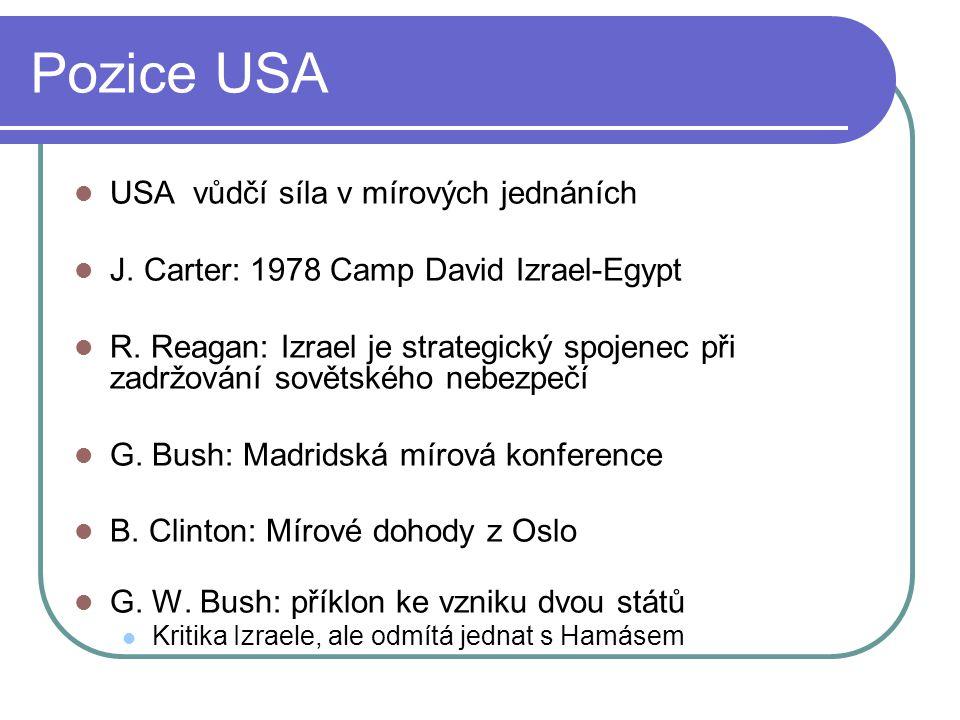 Pozice USA USA vůdčí síla v mírových jednáních