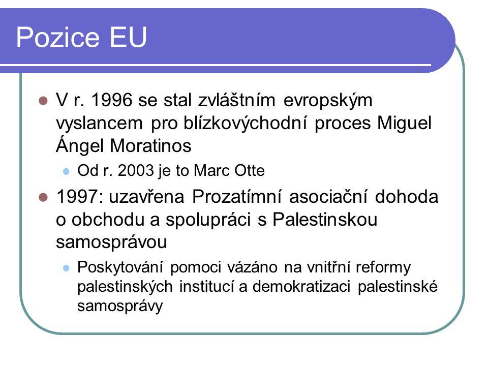 Pozice EU V r. 1996 se stal zvláštním evropským vyslancem pro blízkovýchodní proces Miguel Ángel Moratinos.