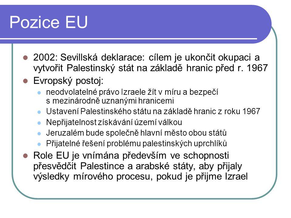 Pozice EU 2002: Sevillská deklarace: cílem je ukončit okupaci a vytvořit Palestinský stát na základě hranic před r. 1967.