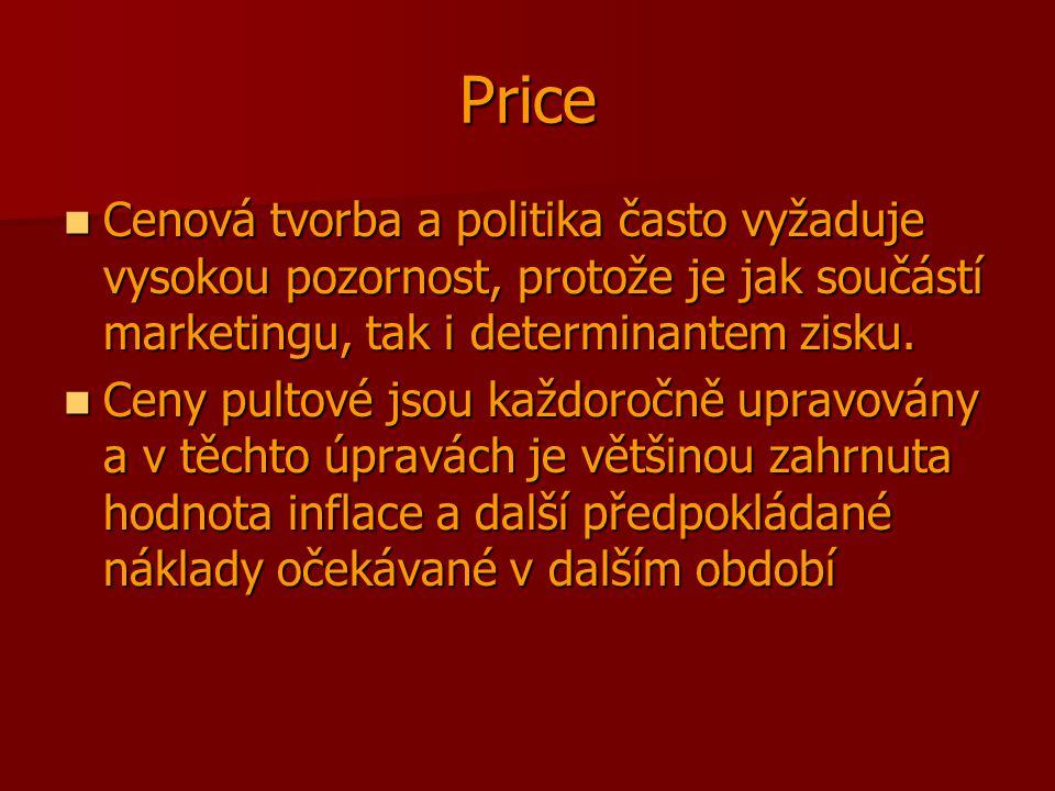 Price Cenová tvorba a politika často vyžaduje vysokou pozornost, protože je jak součástí marketingu, tak i determinantem zisku.