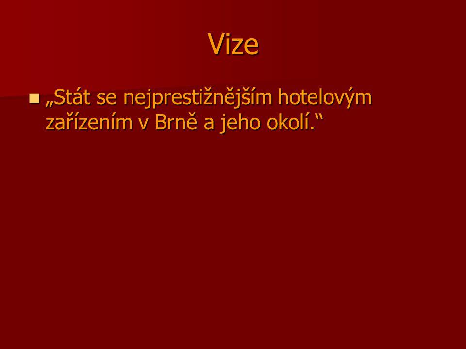 """Vize """"Stát se nejprestižnějším hotelovým zařízením v Brně a jeho okolí."""