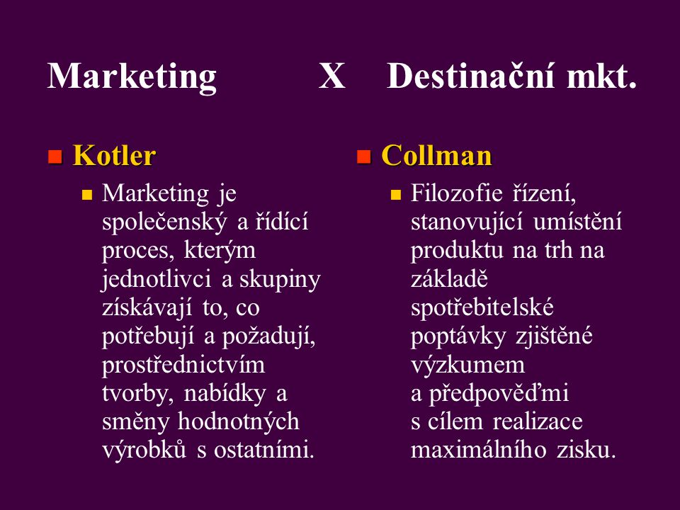 Marketing X Destinační mkt.