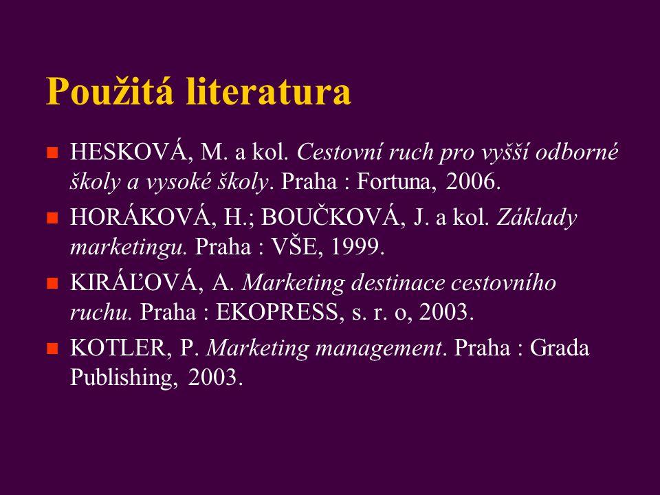 Použitá literatura HESKOVÁ, M. a kol. Cestovní ruch pro vyšší odborné školy a vysoké školy. Praha : Fortuna, 2006.