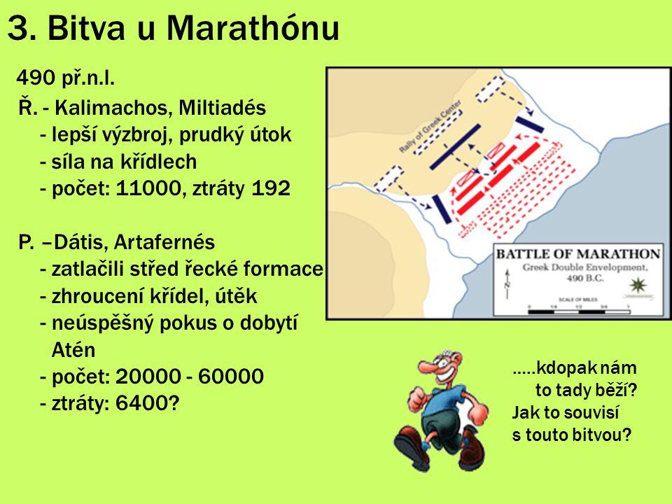 3. Bitva u Marathónu 490 př.n.l. Ř. - Kalimachos, Miltiadés