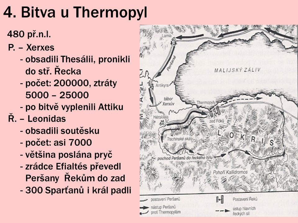 4. Bitva u Thermopyl 480 př.n.l. P. – Xerxes