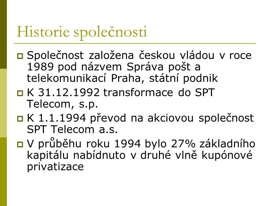 Historie společnosti Společnost založena českou vládou v roce 1989 pod názvem Správa pošt a telekomunikací Praha, státní podnik.