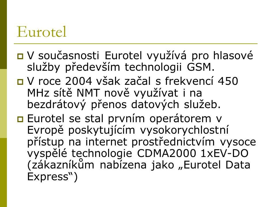 Eurotel V současnosti Eurotel využívá pro hlasové služby především technologii GSM.