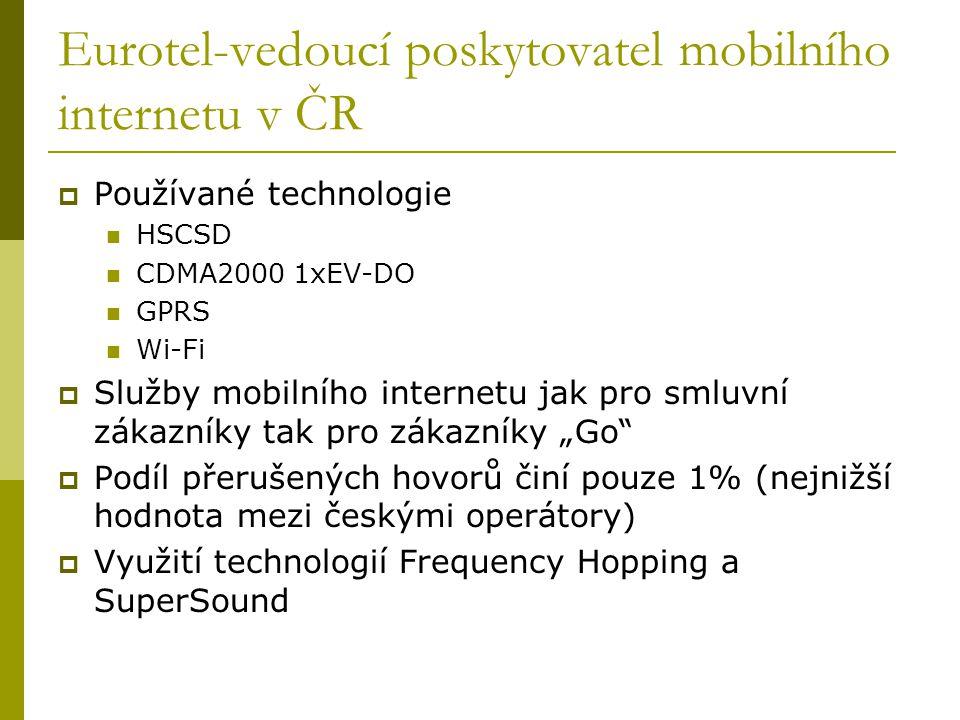 Eurotel-vedoucí poskytovatel mobilního internetu v ČR