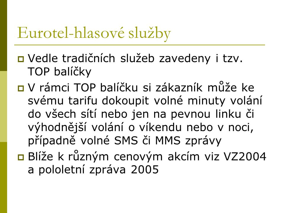 Eurotel-hlasové služby
