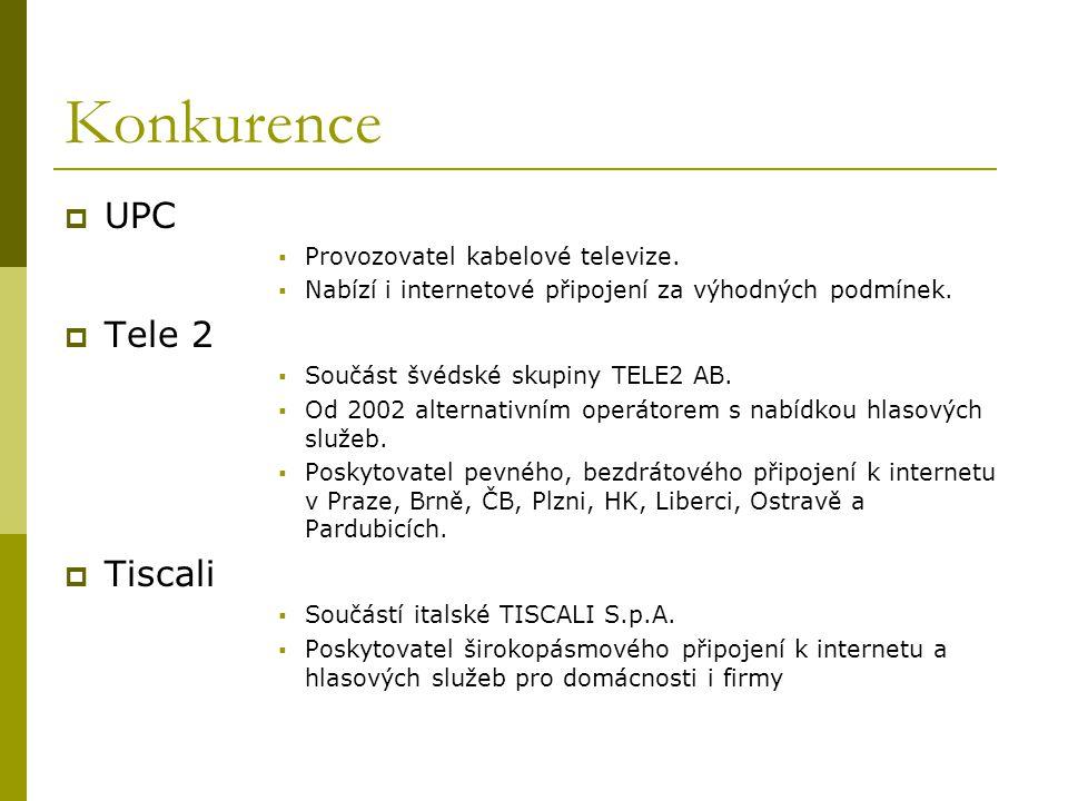 Konkurence UPC Tele 2 Tiscali Provozovatel kabelové televize.