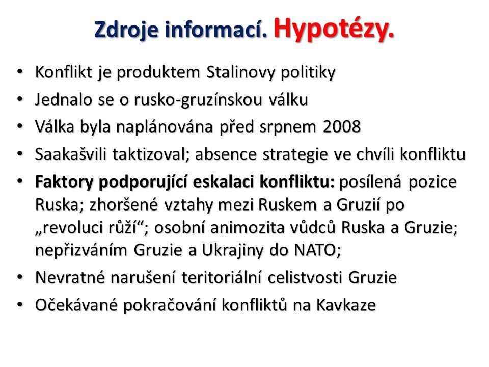 Zdroje informací. Hypotézy.