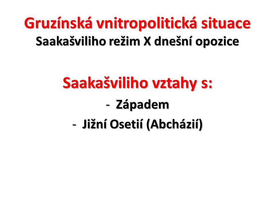 Gruzínská vnitropolitická situace Saakašviliho režim X dnešní opozice