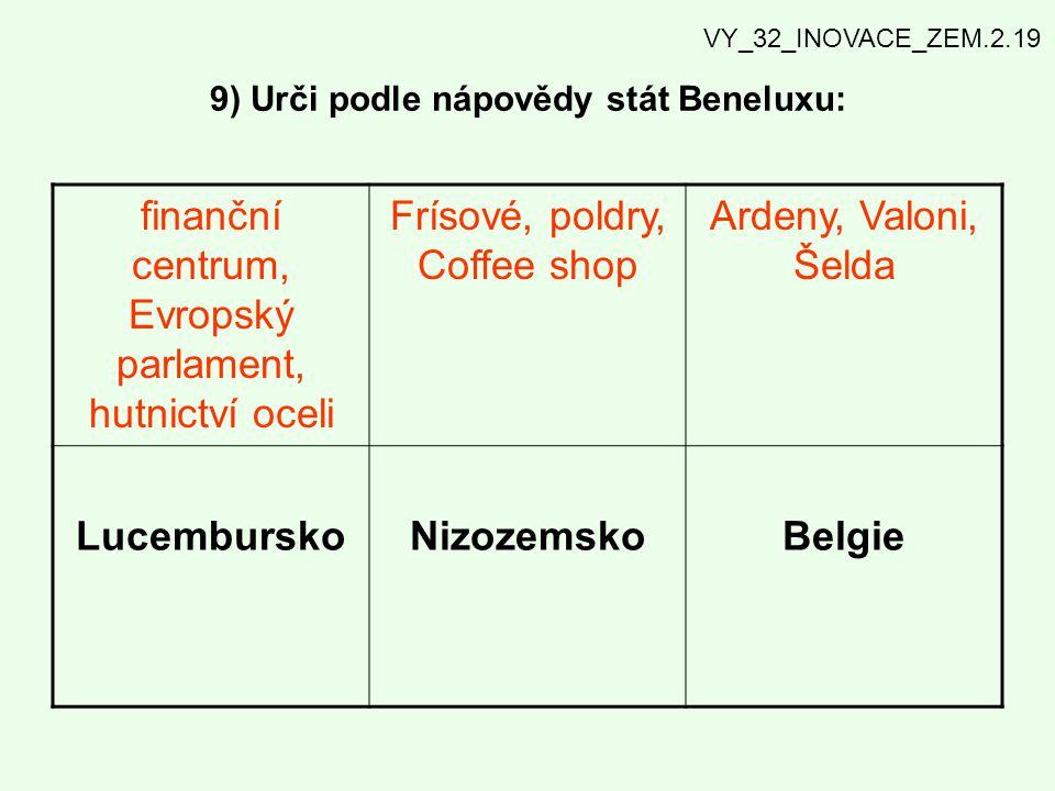 9) Urči podle nápovědy stát Beneluxu: