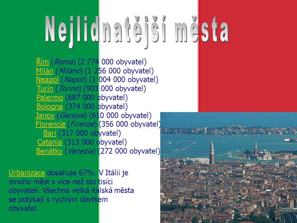 Nejlidnatější města Řím (Roma) (2 774 000 obyvatel)