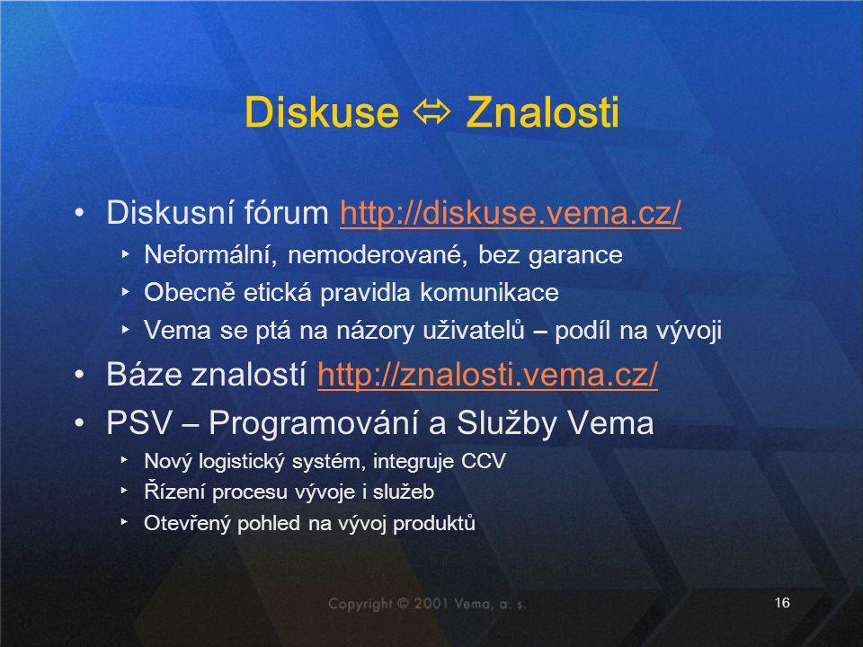Diskuse  Znalosti Diskusní fórum http://diskuse.vema.cz/
