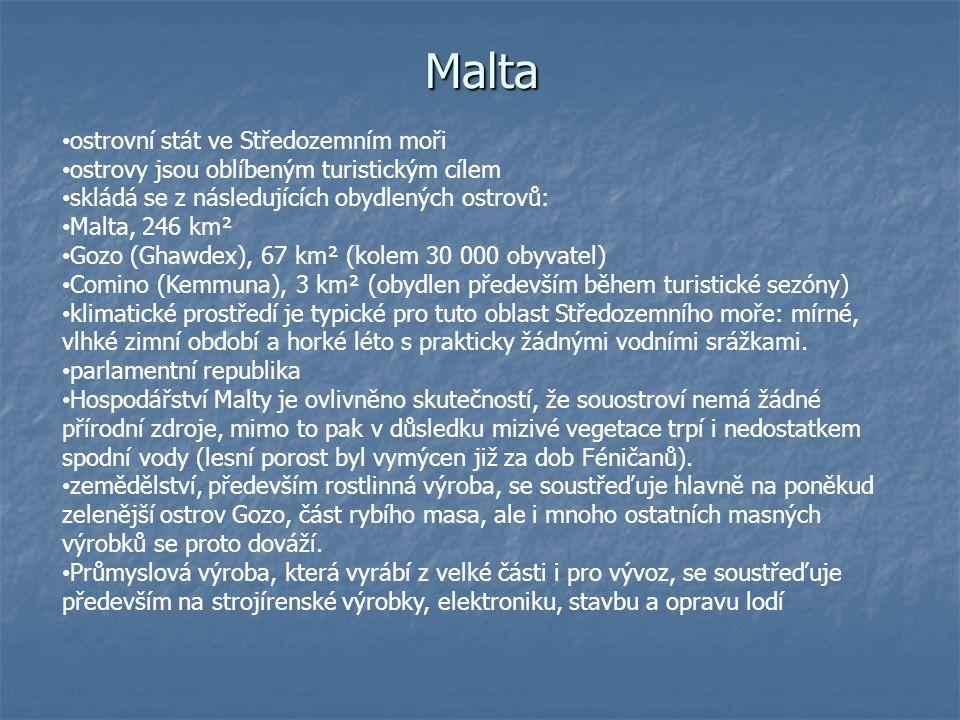 Malta ostrovní stát ve Středozemním moři
