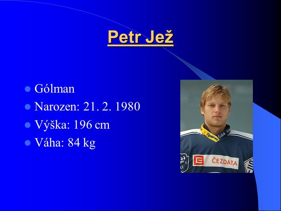 Petr Jež Gólman Narozen: 21. 2. 1980 Výška: 196 cm Váha: 84 kg