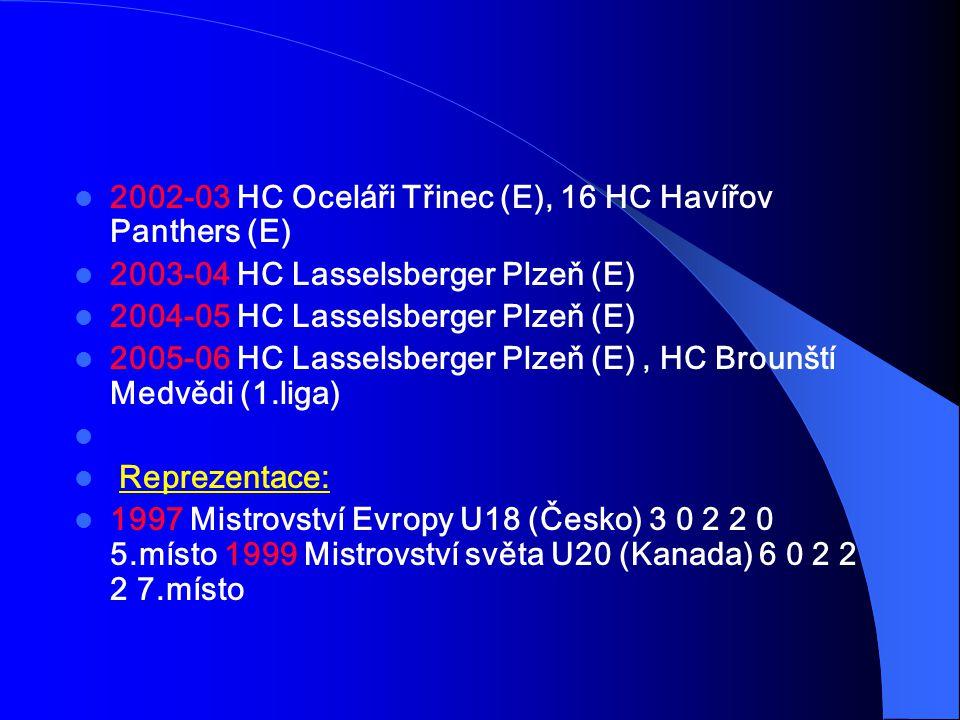 2002-03 HC Oceláři Třinec (E), 16 HC Havířov Panthers (E)