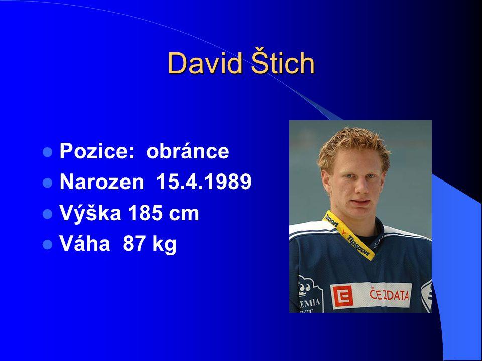 David Štich Pozice: obránce Narozen 15.4.1989 Výška 185 cm Váha 87 kg