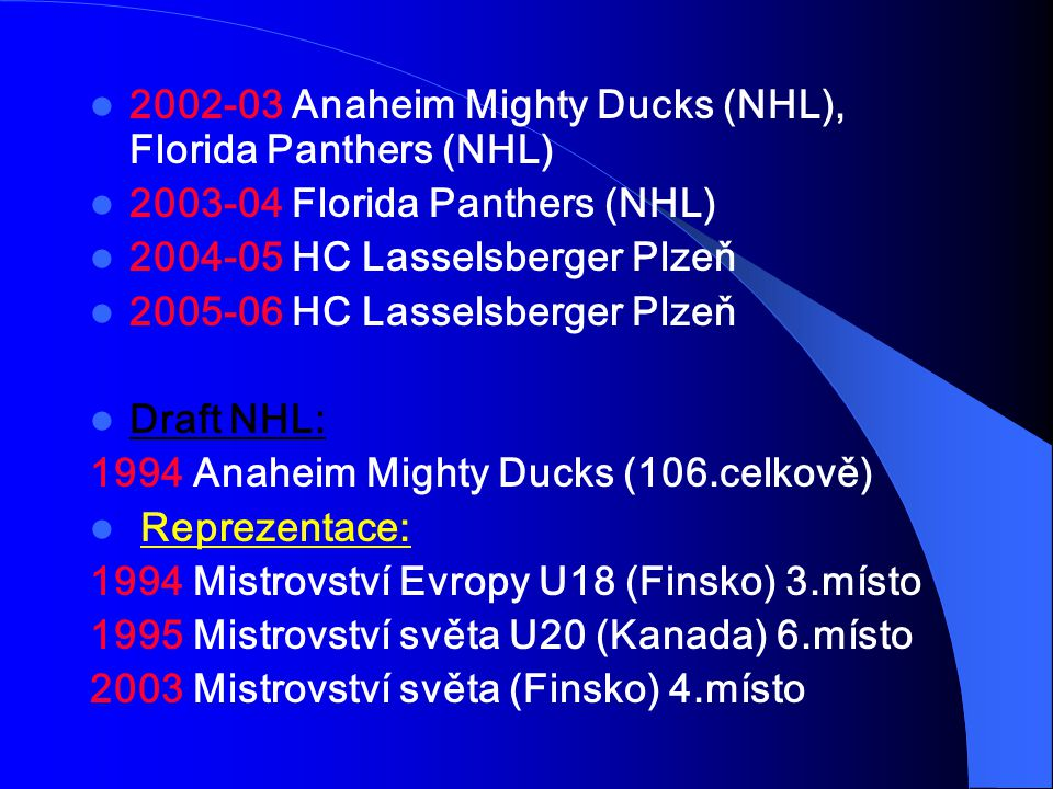 2002-03 Anaheim Mighty Ducks (NHL), Florida Panthers (NHL)