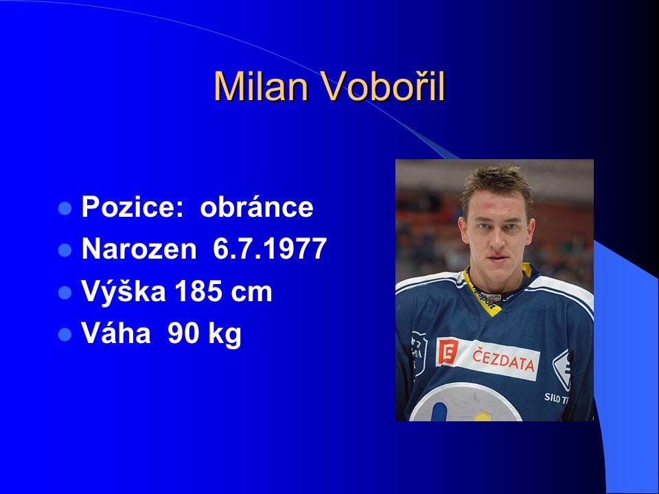 Milan Vobořil Pozice: obránce Narozen 6.7.1977 Výška 185 cm Váha 90 kg