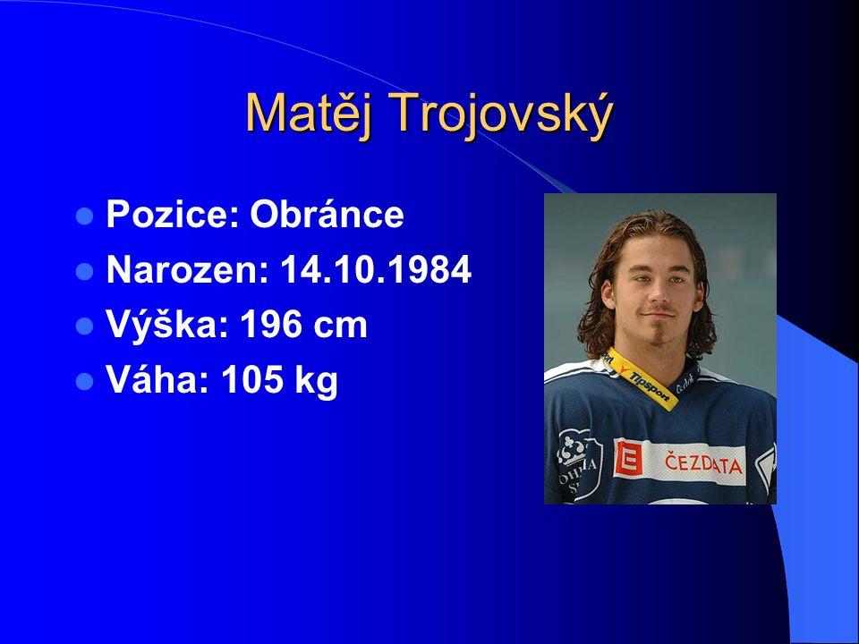 Matěj Trojovský Pozice: Obránce Narozen: 14.10.1984 Výška: 196 cm