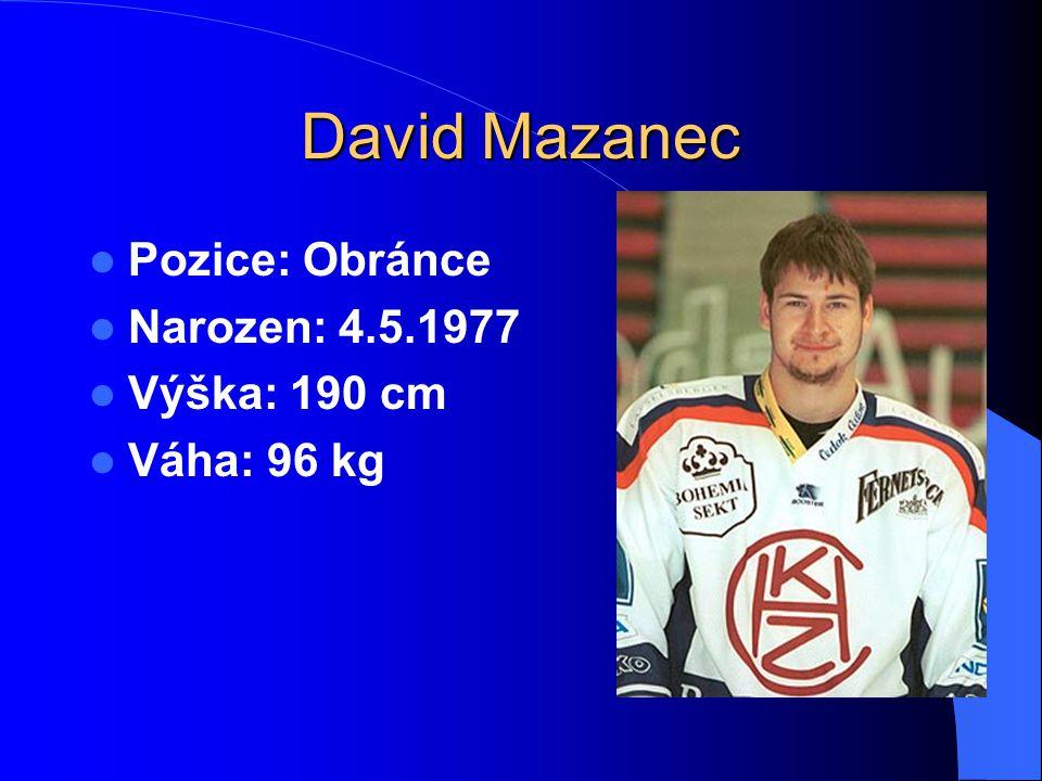 David Mazanec Pozice: Obránce Narozen: 4.5.1977 Výška: 190 cm