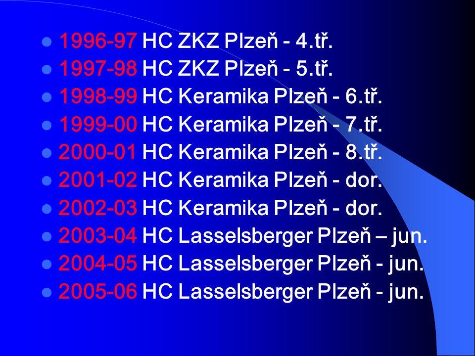 1996-97 HC ZKZ Plzeň - 4.tř. 1997-98 HC ZKZ Plzeň - 5.tř. 1998-99 HC Keramika Plzeň - 6.tř. 1999-00 HC Keramika Plzeň - 7.tř.