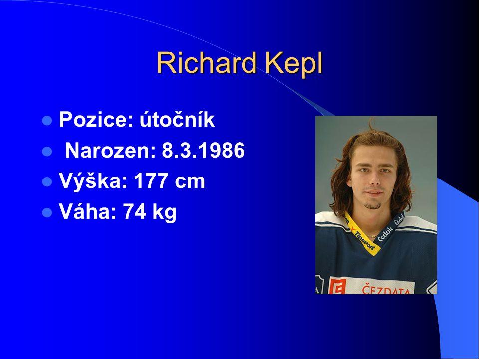 Richard Kepl Pozice: útočník Narozen: 8.3.1986 Výška: 177 cm