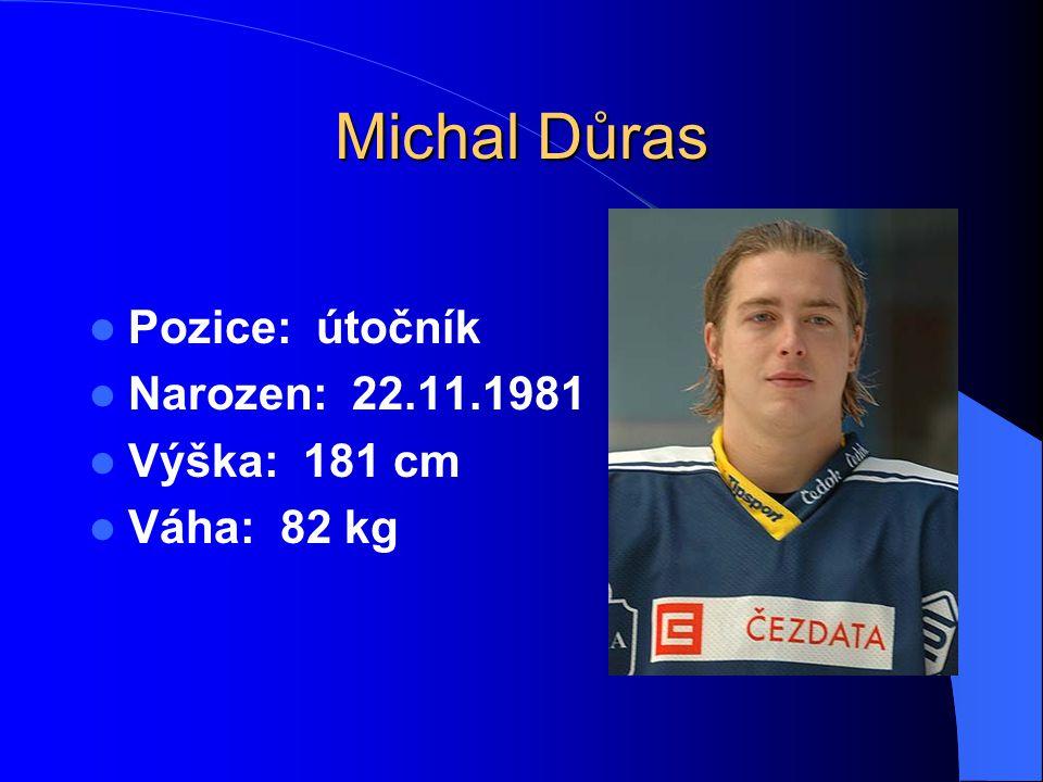 Michal Důras Pozice: útočník Narozen: 22.11.1981 Výška: 181 cm