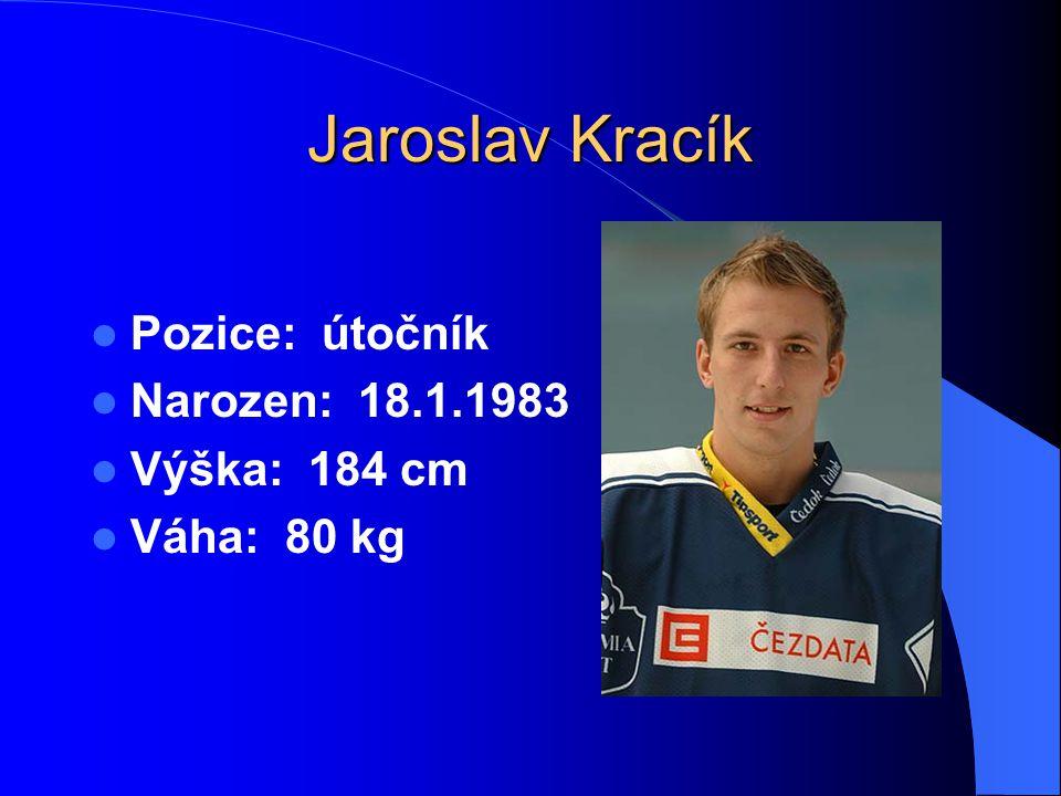 Jaroslav Kracík Pozice: útočník Narozen: 18.1.1983 Výška: 184 cm