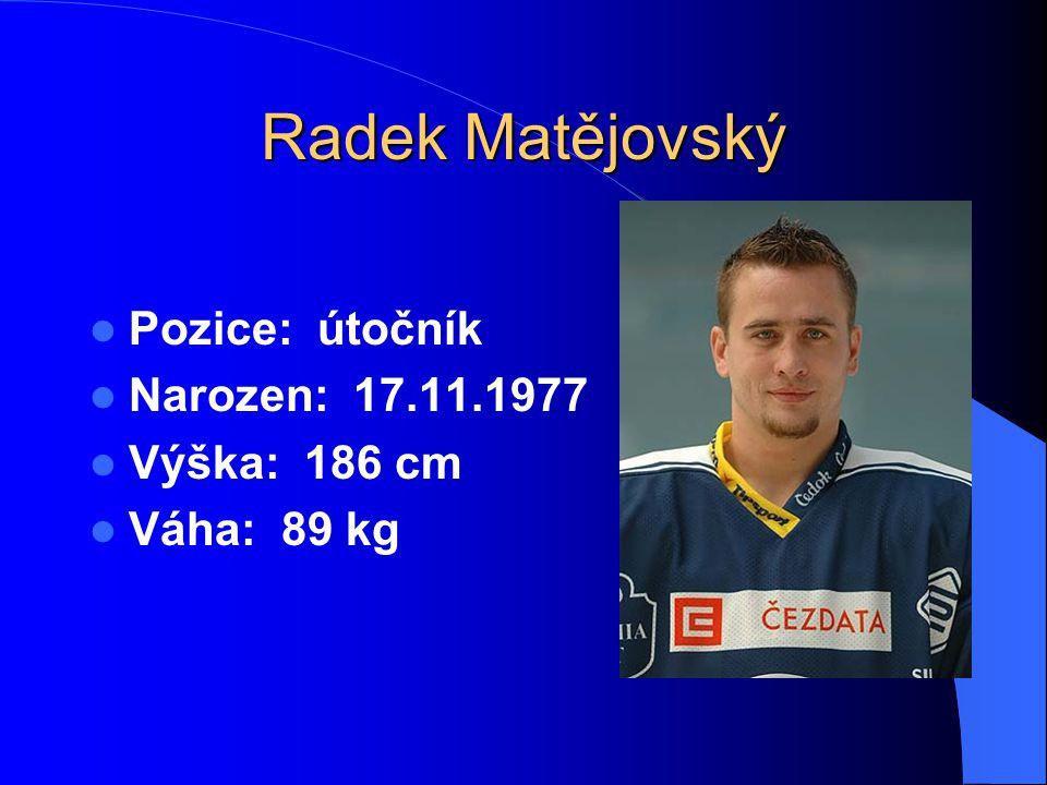 Radek Matějovský Pozice: útočník Narozen: 17.11.1977 Výška: 186 cm