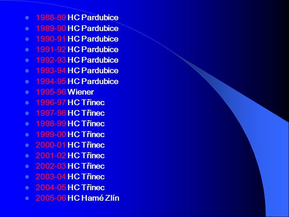 1988-89 HC Pardubice 1989-90 HC Pardubice. 1990-91 HC Pardubice. 1991-92 HC Pardubice. 1992-93 HC Pardubice.