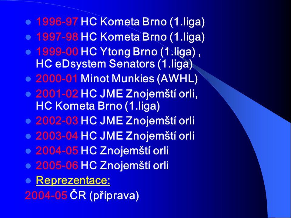 1996-97 HC Kometa Brno (1.liga) 1997-98 HC Kometa Brno (1.liga) 1999-00 HC Ytong Brno (1.liga) , HC eDsystem Senators (1.liga)