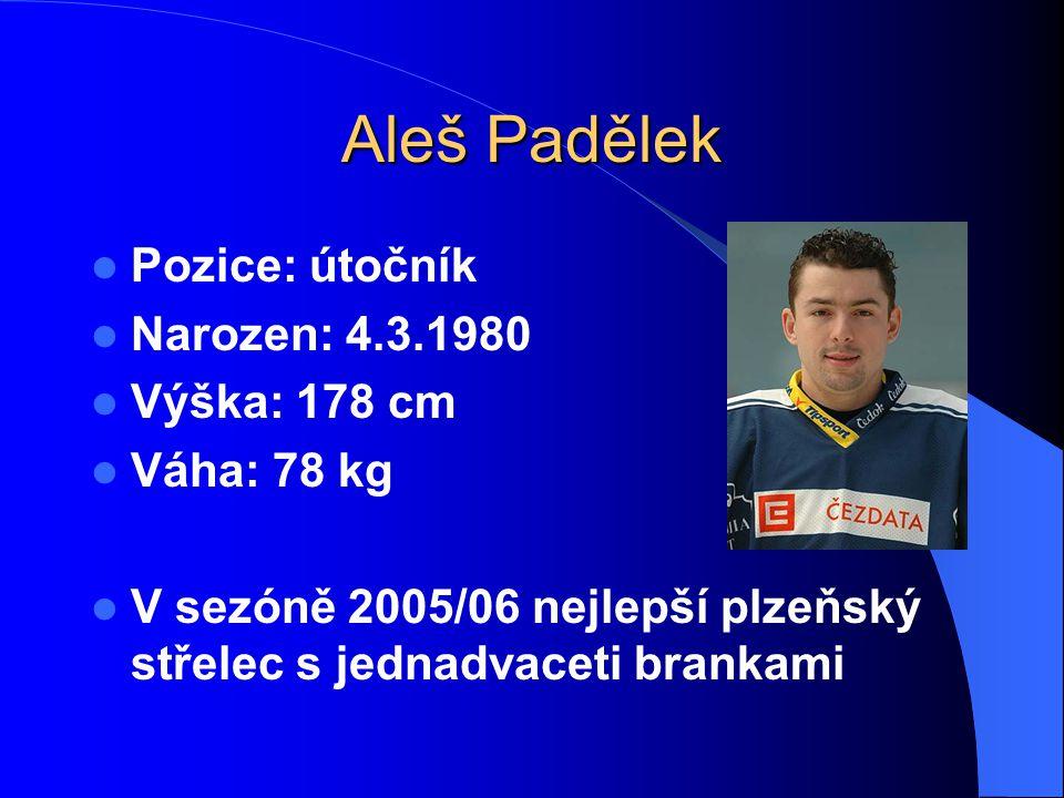 Aleš Padělek Pozice: útočník Narozen: 4.3.1980 Výška: 178 cm