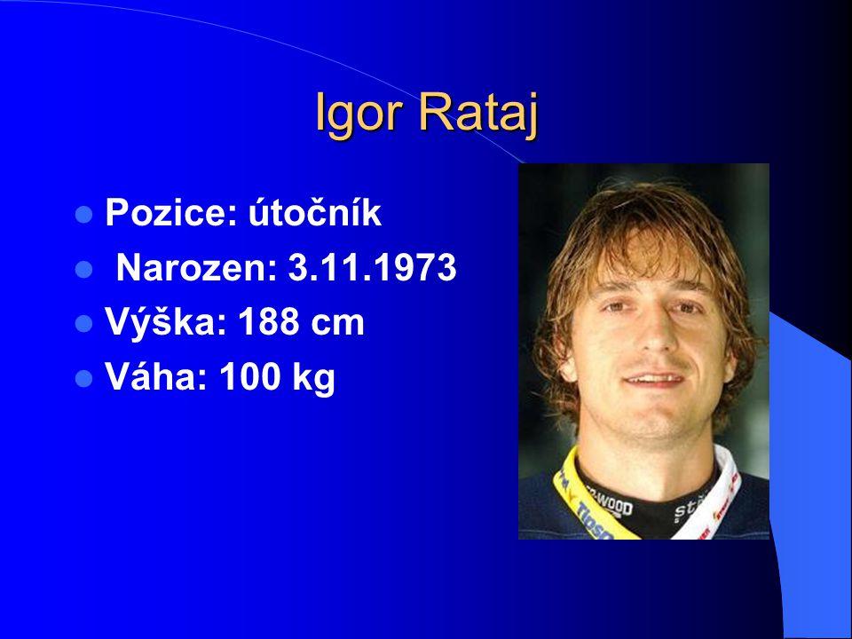 Igor Rataj Pozice: útočník Narozen: 3.11.1973 Výška: 188 cm