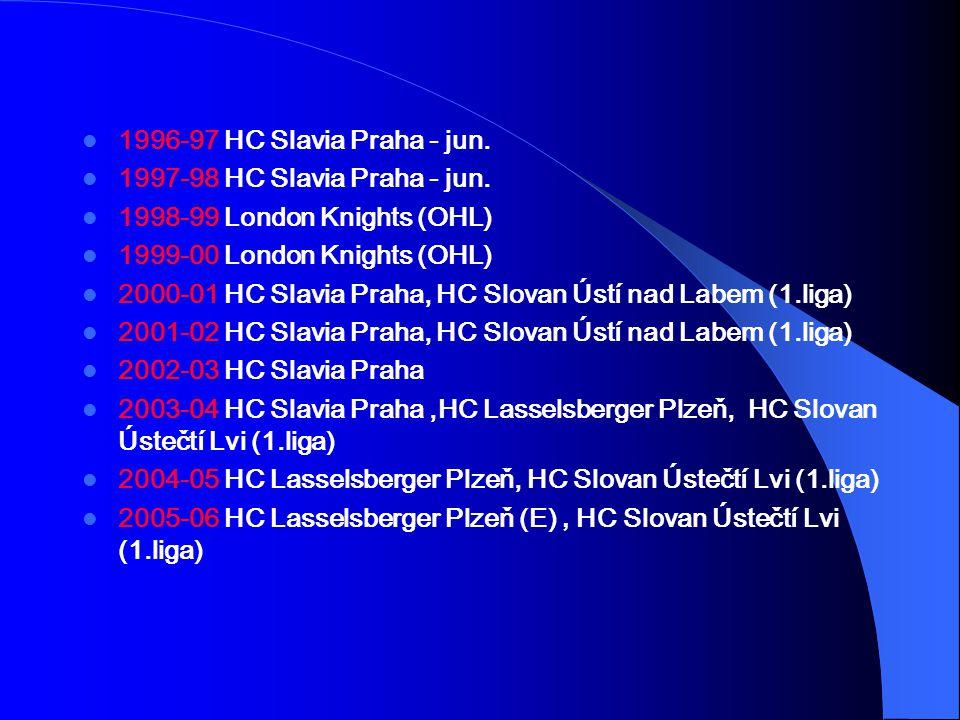 1996-97 HC Slavia Praha - jun. 1997-98 HC Slavia Praha - jun. 1998-99 London Knights (OHL) 1999-00 London Knights (OHL)
