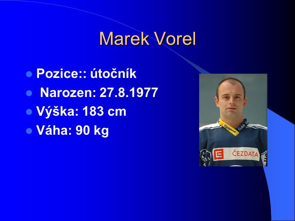 Marek Vorel Pozice:: útočník Narozen: 27.8.1977 Výška: 183 cm