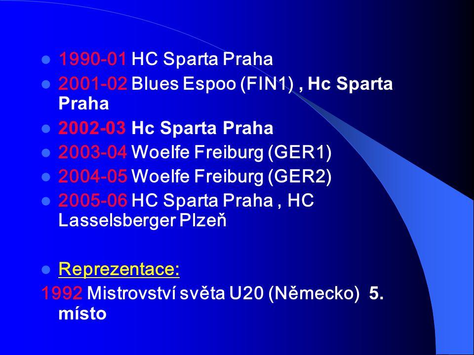 1990-01 HC Sparta Praha 2001-02 Blues Espoo (FIN1) , Hc Sparta Praha. 2002-03 Hc Sparta Praha. 2003-04 Woelfe Freiburg (GER1)