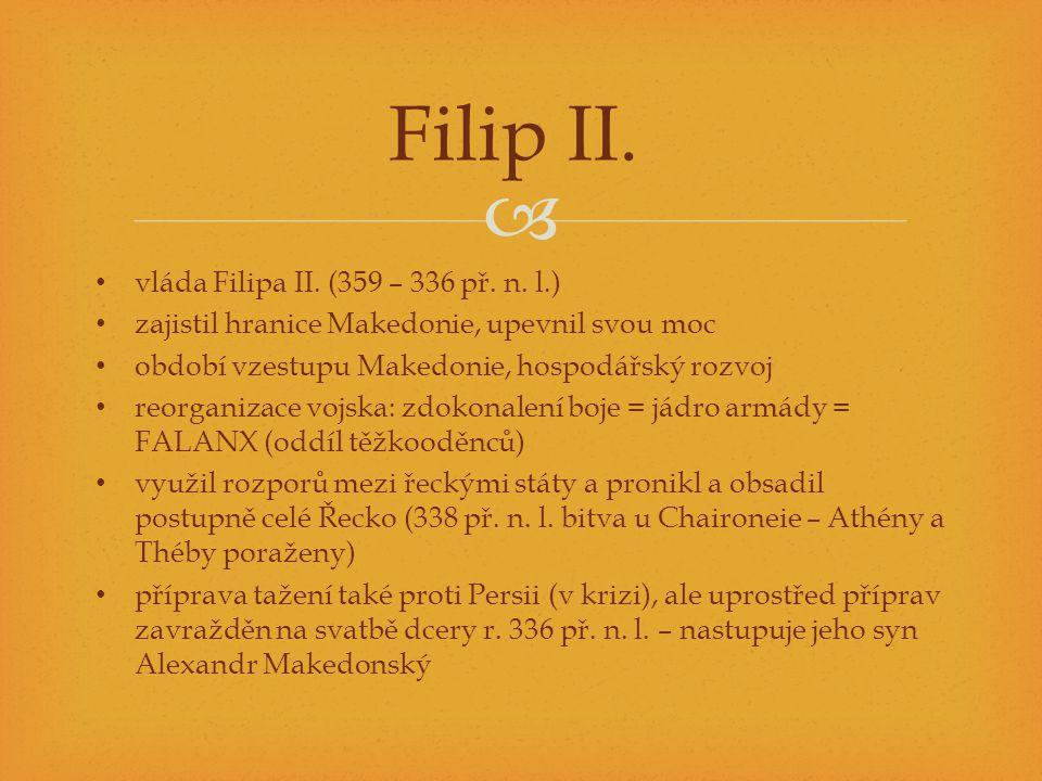 Filip II. vláda Filipa II. (359 – 336 př. n. l.)