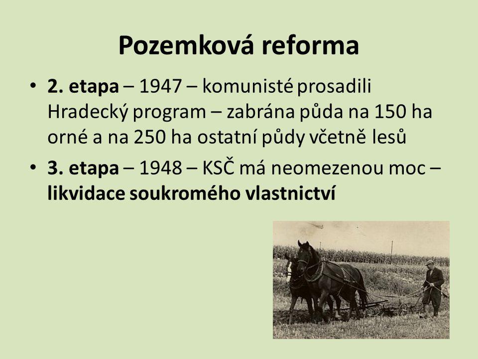 Pozemková reforma 2. etapa – 1947 – komunisté prosadili Hradecký program – zabrána půda na 150 ha orné a na 250 ha ostatní půdy včetně lesů.