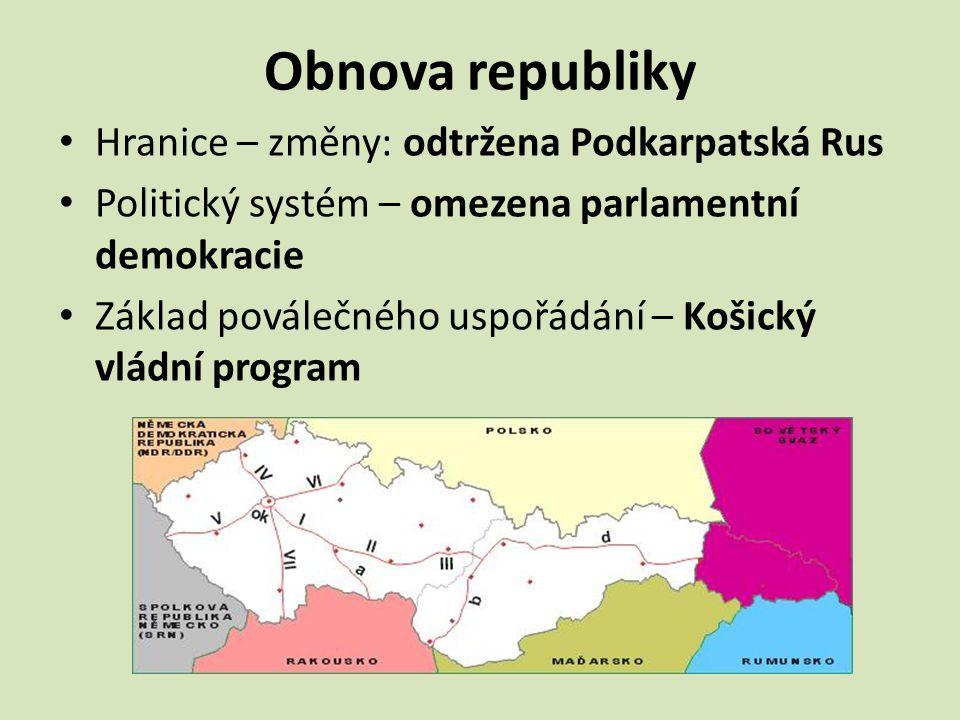 Obnova republiky Hranice – změny: odtržena Podkarpatská Rus