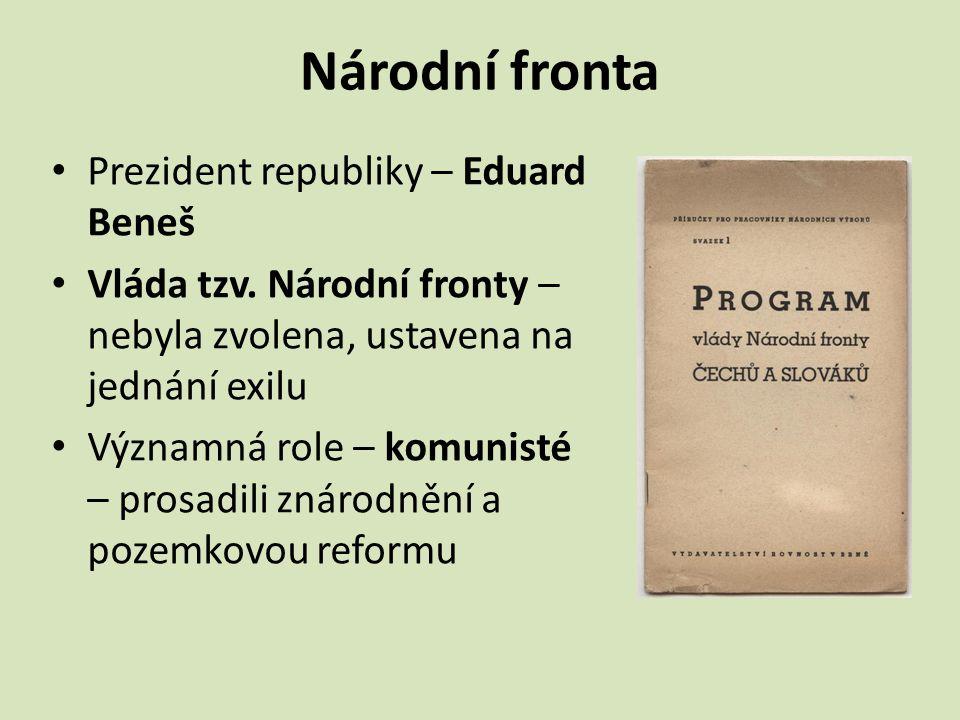 Národní fronta Prezident republiky – Eduard Beneš
