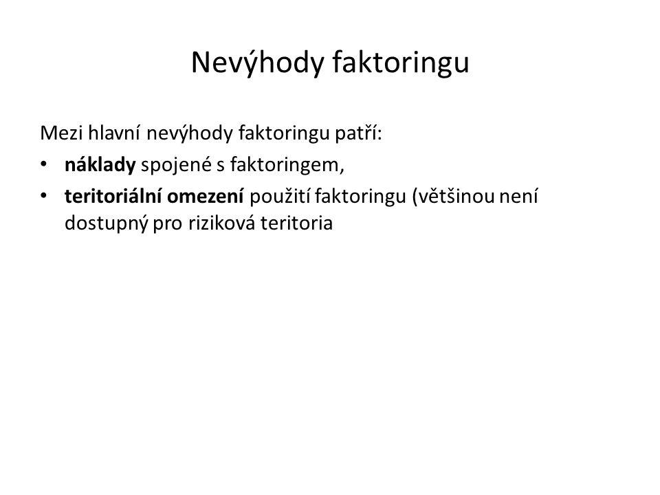 Nevýhody faktoringu Mezi hlavní nevýhody faktoringu patří: